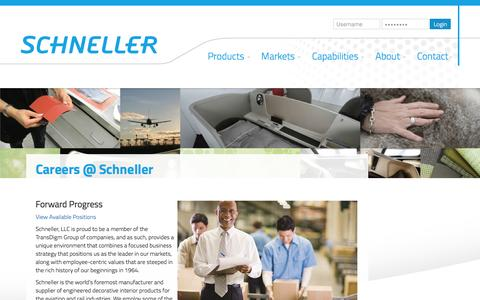 Screenshot of Jobs Page schneller.com - Careers at Schneller | Aircraft Interior Design Careers | Schneller - captured Feb. 4, 2016