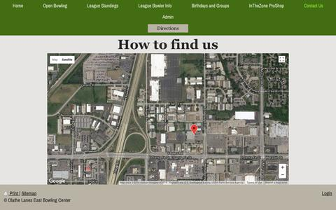 Screenshot of Maps & Directions Page oleast.com - Olathe Lanes East Bowling Center - Directions - captured June 29, 2018