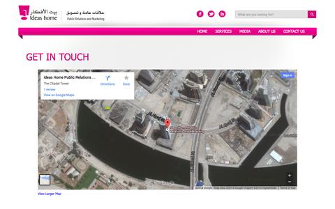 Screenshot of Maps & Directions Page ideashome.ae - Ideas Home | Public Relations and Marketing | Map - captured Oct. 6, 2014