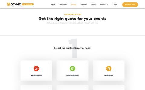 Screenshot of Pricing Page gevme.com - Pricing - captured July 14, 2018