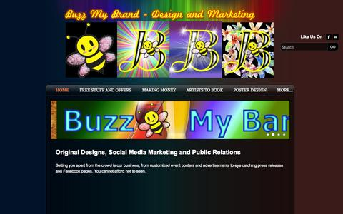 Screenshot of Home Page buzzmybrand.com - Buzz My Brand Design, Marketing and PR - Home - captured Sept. 30, 2014