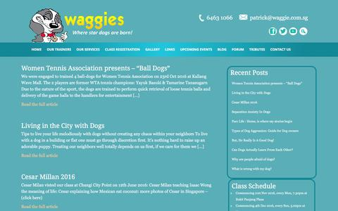 Screenshot of Blog waggie.com.sg - Dog Training Blog - captured Nov. 28, 2016