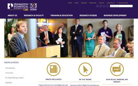 Screenshot of Press Page pbrc.edu - Pennington Biomedical Research Center - captured Sept. 24, 2018