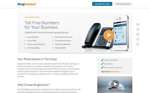 Screenshot of Landing Page ringcentral.com - RingCentral Toll Free Numbers  For Your Business - captured Sept. 7, 2016