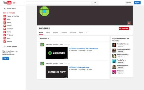 Screenshot of YouTube Page youtube.com - ZOGSURE  - YouTube - captured Oct. 26, 2014