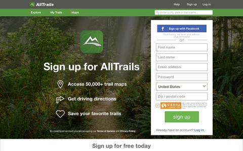 Screenshot of alltrails.com - Sign up | AllTrails.com - captured March 19, 2016