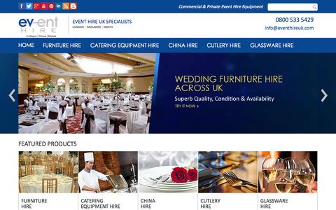 Screenshot of Home Page eventhireuk.com - Event Hire UK Specialists | Furniture Hire, Catering Equipment Hire & Event Hire London & UK - captured June 18, 2015