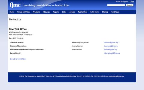 Screenshot of Contact Page fjmc.org - Contact Us   Federation of Jewish Men's Clubs - captured Aug. 9, 2018