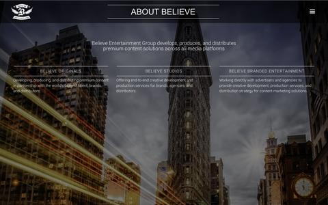 Screenshot of About Page believeentertainmentgroup.com - ABOUT BELIEVE | Believe - captured July 29, 2016