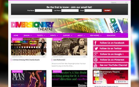 Screenshot of Blog diversionary.org - Discovering Truman - Diversionary Theatre - captured Sept. 25, 2015