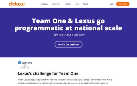 Screenshot of Team Page dataxu.com - Team One Helps Lexus Go Programmatic on the National Scale - captured Nov. 18, 2019