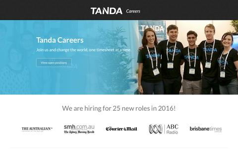 Screenshot of Jobs Page tanda.co - Tanda Careers - hiring for 25 new roles in 2016! - captured Aug. 19, 2016