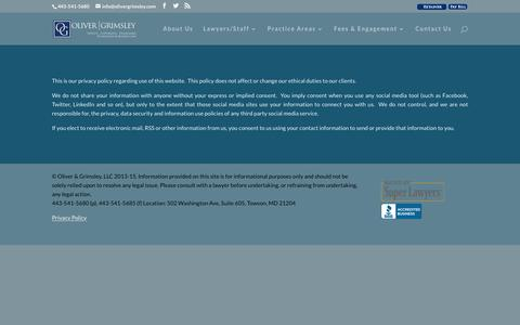 Screenshot of Privacy Page olivergrimsley.com - Privacy Policy | Oliver & Grimsley, LLC - captured Feb. 14, 2016