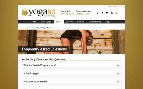 Screenshot of FAQ Page yoga80.com - Frequently Asked Questions - yoga80 - captured Oct. 27, 2014