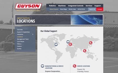 Screenshot of Locations Page guyson.com - Locations | Guyson - captured Feb. 2, 2016