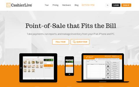 Screenshot of Home Page cashierlive.com - Web Based Point of Sale & iPhone POS from Cashier Live - captured July 11, 2014