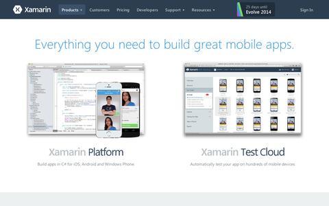 Screenshot of Products Page xamarin.com - Xamarin products, including Xamarin Studio, Visual Studio, Test Cloud and more - Xamarin - captured Sept. 11, 2014