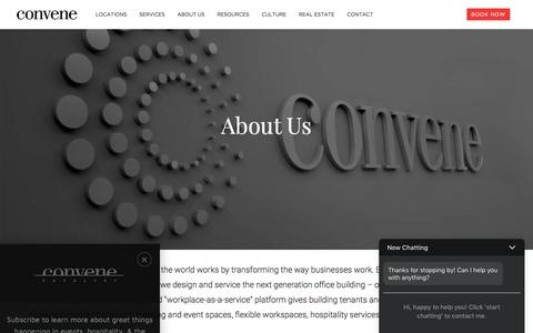 Screenshot of About Page convene.com - About Us - Convene - Meeting Rooms, Event Spaces, & Conference Centers - captured Oct. 11, 2017