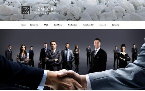 Screenshot of Support Page hzmcorp.com - HZMCORPManiar Group of CompaniesSupport - captured Nov. 4, 2018