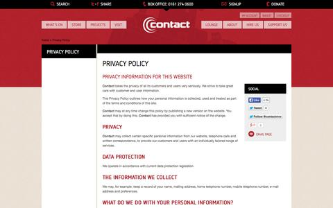 Screenshot of Privacy Page contactmcr.com - Contact, Manchester - captured Oct. 3, 2014