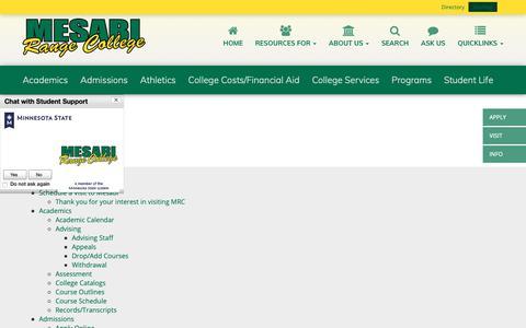 Screenshot of Site Map Page mesabirange.edu - Sitemap | Mesabi Range College - captured Oct. 17, 2018