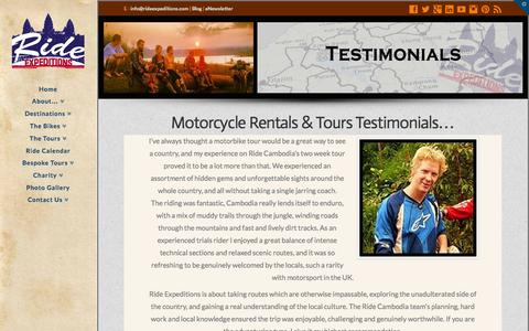 Screenshot of Testimonials Page rideexpeditions.com - Rider Testimonials | Ride Expeditions - captured Oct. 9, 2014