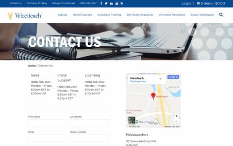 Screenshot of Contact Page velociteach.com - Contact Us - PMP Certification Exam Prep & Training - Velociteach - captured March 1, 2018