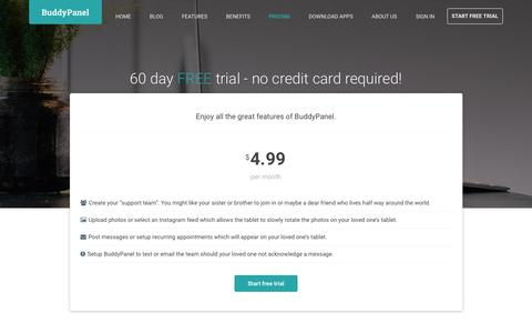 Screenshot of Pricing Page buddypanel.com - BuddyPanel - a service for family caregivers and their loved ones - captured July 10, 2018
