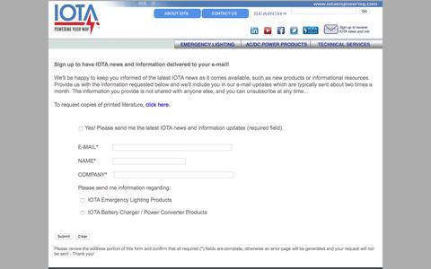 Screenshot of Signup Page iotaengineering.com - IOTA Mailing List Opt-In - captured July 27, 2018