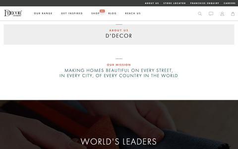 Screenshot of About Page ddecor.com - About Us - Home Decorations, Home Furnishing - D'Décor - captured Sept. 30, 2018