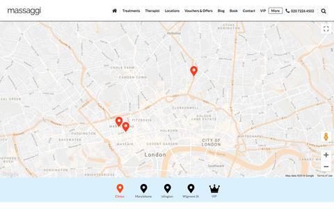 Screenshot of Locations Page massaggi.co.uk - Massage Clinic London, Skilled Therapist - Massaggi - captured Sept. 20, 2018