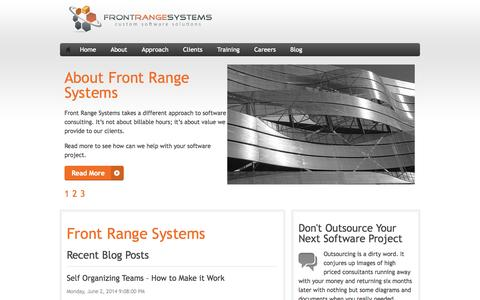 Screenshot of Home Page frontrangesystems.com - Front Range Systems - Front Range Systems - captured Sept. 30, 2014