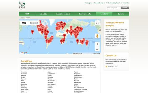 Screenshot of Locations Page erm.com - Locations - Environmental Resources Management (ERM) - captured Sept. 22, 2018
