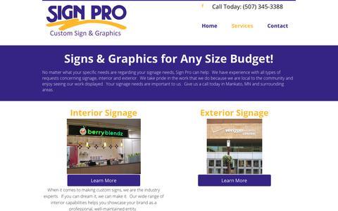 Screenshot of Services Page signpromankato.com - Vehicle Graphics | Southern Minnesota | Sign Pro - captured Nov. 18, 2018