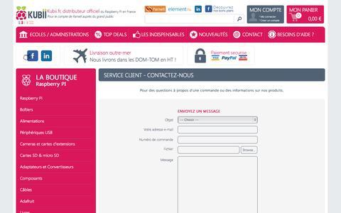 Screenshot of Contact Page kubii.fr - Contactez Kubii distributeur officiel du RPi en France pour les particuliers - Kubii.fr - Kubiweb SAS - captured Sept. 23, 2014