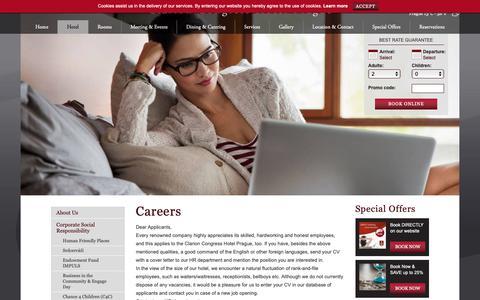 Screenshot of Jobs Page clarioncongresshotelprague.com - Careers - Clarion Congress Hotel Prague - captured Sept. 28, 2018