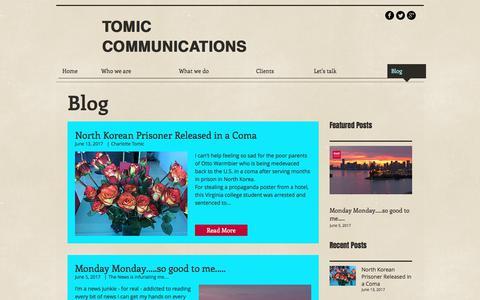 Screenshot of Blog tomiccommunications.com - Miami public relations company - captured June 19, 2017