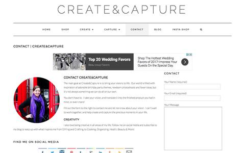 Screenshot of Contact Page createandcapture.com - Contact Create&Capture - captured Sept. 9, 2017