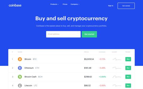 Screenshot of Home Page coinbase.com - Coinbase – Buy & Sell Bitcoin, Ethereum, and more with trust - captured April 4, 2019