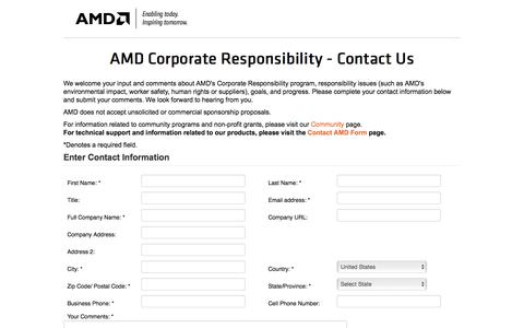 Screenshot of Landing Page amd.com - AMD Corporate Responsibility - Contact Us - captured Aug. 18, 2016