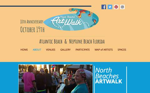 Screenshot of About Page nbaw.org - North Beaches Art Walk | ABOUT - captured Oct. 22, 2017
