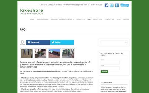 Screenshot of FAQ Page lakeshorehomemaintenance.com - Window repair FAQ   Lakeshore Home Maintenance - captured Dec. 6, 2015