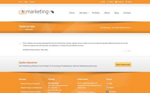 Screenshot of Testimonials Page clikmarketing.com.au - Testimonials | Clik Marketing - captured May 18, 2017