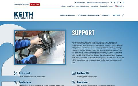 Screenshot of Support Page keithwalkingfloor.com - Customer Support, Troubleshooting, Documentation | WALKING FLOOR® - captured Oct. 14, 2018