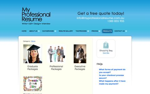 Screenshot of Products Page myprofessionalresume.com.au - My Professional Resume Products and Services | Graduate Resumes | Professional Resumes | Executive Resumes | My Professional Resume | Resume Writing Service - captured Oct. 26, 2014