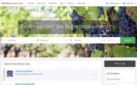 Screenshot of Jobs Page thedrinksbusiness.com - Beer, Spirits and Wine Jobs - The Drinks Business - captured Jan. 18, 2020