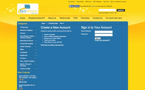 Screenshot of Login Page fairdinks.com.au - Fairdinks - Sign in - captured Oct. 6, 2014