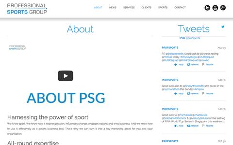 Screenshot of About Page profsports.com - Professional Sports Group - Professional Sports Group - captured Nov. 2, 2014