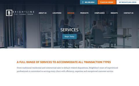 Screenshot of Services Page brightlinetitle.com - Services | Brightline Title - captured Aug. 1, 2018