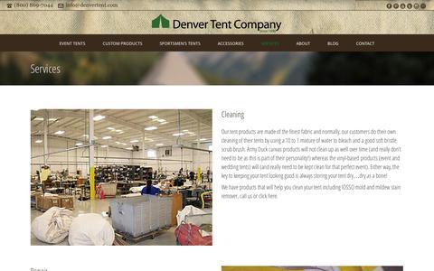 Screenshot of Services Page denvertent.com - Services|Denver Tent Company - Repair & Cleaning | Denver Tent Company - Event, Sportsmen, & Custom Tents - captured Oct. 5, 2014